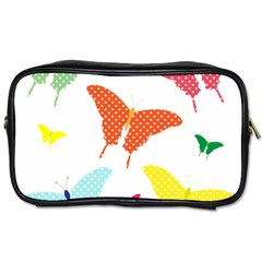 Beautiful Colorful Polka Dot Butterflies Clipart Toiletries Bags 2 Side