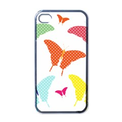 Beautiful Colorful Polka Dot Butterflies Clipart Apple iPhone 4 Case (Black)