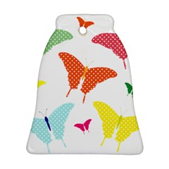 Beautiful Colorful Polka Dot Butterflies Clipart Bell Ornament (Two Sides)