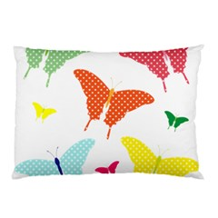 Beautiful Colorful Polka Dot Butterflies Clipart Pillow Case (Two Sides)