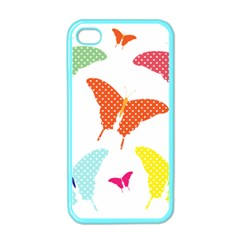Beautiful Colorful Polka Dot Butterflies Clipart Apple iPhone 4 Case (Color)