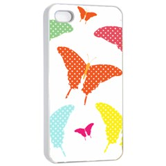 Beautiful Colorful Polka Dot Butterflies Clipart Apple Iphone 4/4s Seamless Case (white)