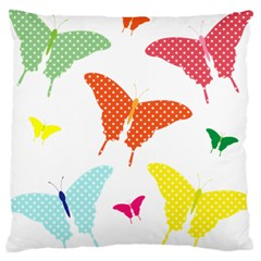 Beautiful Colorful Polka Dot Butterflies Clipart Large Cushion Case (two Sides)