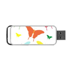 Beautiful Colorful Polka Dot Butterflies Clipart Portable Usb Flash (one Side)