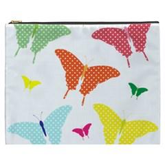 Beautiful Colorful Polka Dot Butterflies Clipart Cosmetic Bag (XXXL)