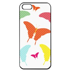 Beautiful Colorful Polka Dot Butterflies Clipart Apple Iphone 5 Seamless Case (black)