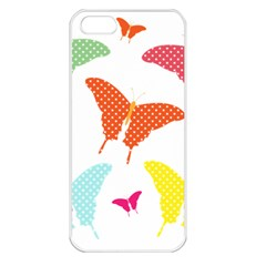 Beautiful Colorful Polka Dot Butterflies Clipart Apple iPhone 5 Seamless Case (White)