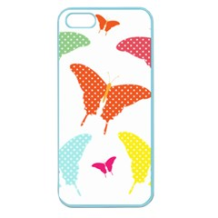 Beautiful Colorful Polka Dot Butterflies Clipart Apple Seamless Iphone 5 Case (color)