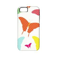 Beautiful Colorful Polka Dot Butterflies Clipart Apple iPhone 5 Classic Hardshell Case (PC+Silicone)