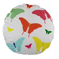 Beautiful Colorful Polka Dot Butterflies Clipart Large 18  Premium Round Cushions