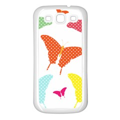 Beautiful Colorful Polka Dot Butterflies Clipart Samsung Galaxy S3 Back Case (White)
