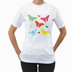 Beautiful Colorful Polka Dot Butterflies Clipart Women s T Shirt (white)