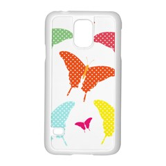 Beautiful Colorful Polka Dot Butterflies Clipart Samsung Galaxy S5 Case (White)