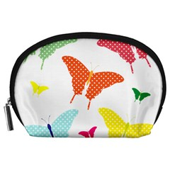 Beautiful Colorful Polka Dot Butterflies Clipart Accessory Pouches (Large)