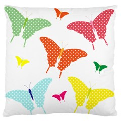 Beautiful Colorful Polka Dot Butterflies Clipart Large Flano Cushion Case (one Side)