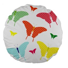 Beautiful Colorful Polka Dot Butterflies Clipart Large 18  Premium Flano Round Cushions