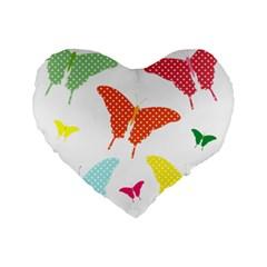 Beautiful Colorful Polka Dot Butterflies Clipart Standard 16  Premium Flano Heart Shape Cushions