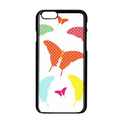 Beautiful Colorful Polka Dot Butterflies Clipart Apple Iphone 6/6s Black Enamel Case