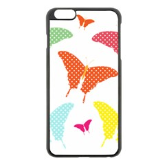 Beautiful Colorful Polka Dot Butterflies Clipart Apple Iphone 6 Plus/6s Plus Black Enamel Case