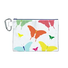 Beautiful Colorful Polka Dot Butterflies Clipart Canvas Cosmetic Bag (M)