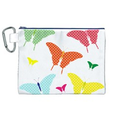 Beautiful Colorful Polka Dot Butterflies Clipart Canvas Cosmetic Bag (xl)