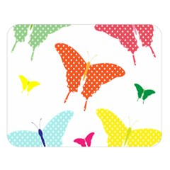 Beautiful Colorful Polka Dot Butterflies Clipart Double Sided Flano Blanket (Large)