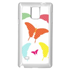Beautiful Colorful Polka Dot Butterflies Clipart Samsung Galaxy Note 4 Case (White)
