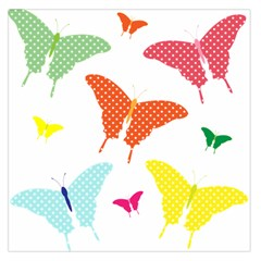 Beautiful Colorful Polka Dot Butterflies Clipart Large Satin Scarf (square)