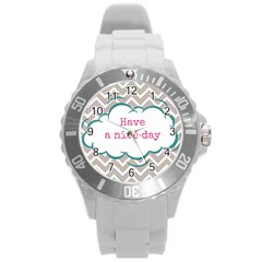 Have A Nice Day Round Plastic Sport Watch (l)
