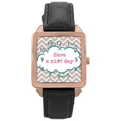 Have A Nice Day Rose Gold Leather Watch