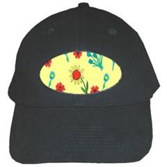 Flowers Fabric Design Black Cap