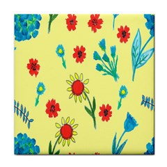 Flowers Fabric Design Tile Coasters