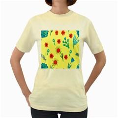 Flowers Fabric Design Women s Yellow T Shirt