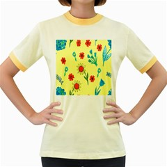 Flowers Fabric Design Women s Fitted Ringer T-Shirts