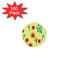 Flowers Fabric Design 1  Mini Buttons (100 Pack)