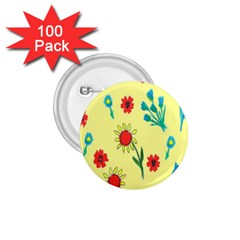 Flowers Fabric Design 1.75  Buttons (100 pack)