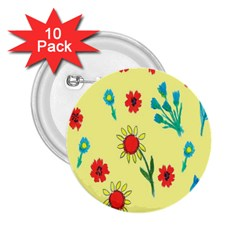 Flowers Fabric Design 2.25  Buttons (10 pack)