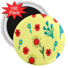 Flowers Fabric Design 3  Magnets (100 pack)