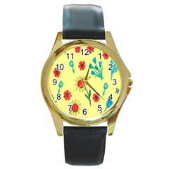 Flowers Fabric Design Round Gold Metal Watch