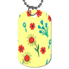 Flowers Fabric Design Dog Tag (Two Sides)