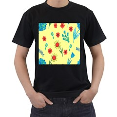 Flowers Fabric Design Men s T Shirt (black) (two Sided)