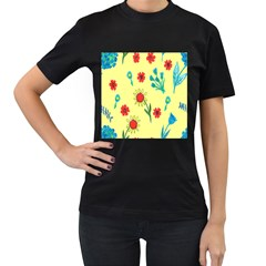 Flowers Fabric Design Women s T Shirt (black) (two Sided)