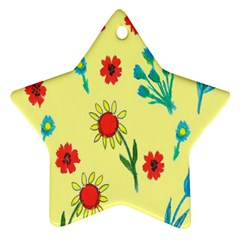 Flowers Fabric Design Star Ornament (two Sides)