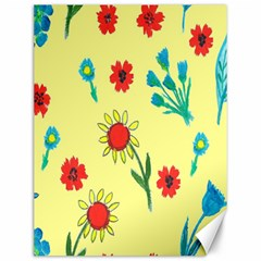 Flowers Fabric Design Canvas 12  x 16