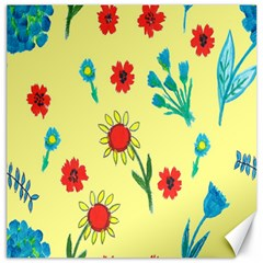 Flowers Fabric Design Canvas 16  x 16