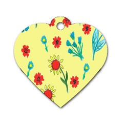 Flowers Fabric Design Dog Tag Heart (two Sides)