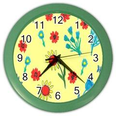 Flowers Fabric Design Color Wall Clocks
