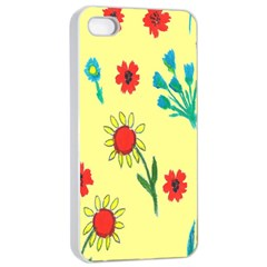 Flowers Fabric Design Apple Iphone 4/4s Seamless Case (white)