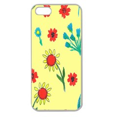 Flowers Fabric Design Apple Seamless iPhone 5 Case (Clear)