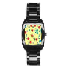 Flowers Fabric Design Stainless Steel Barrel Watch